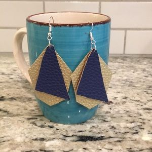 Navy/gold leather earrings
